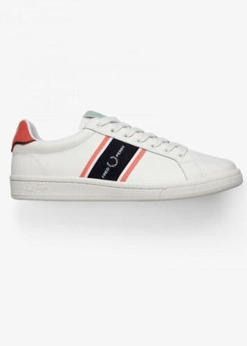 Fred Perry B721 Leather Tennis Shoe Trainer Snow White UK7 UK8 RRP £80